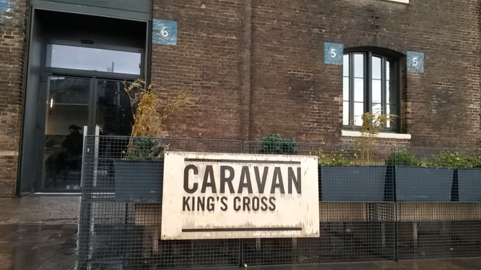 Caravan at the new development behind King's Cross Station
