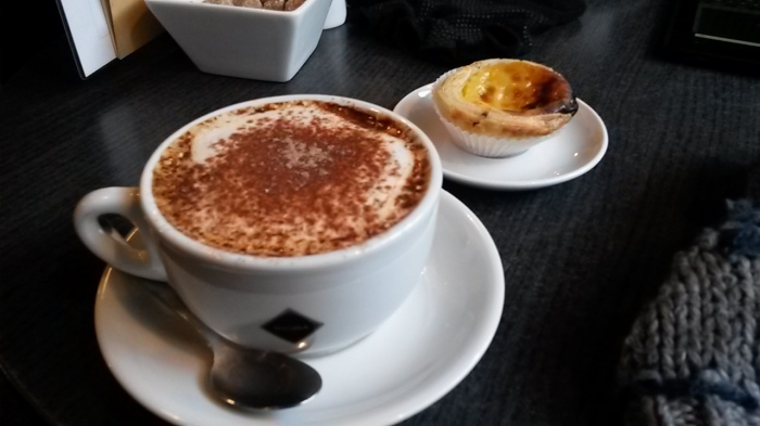 Chocolate covered cappuccino with excellent custard tart