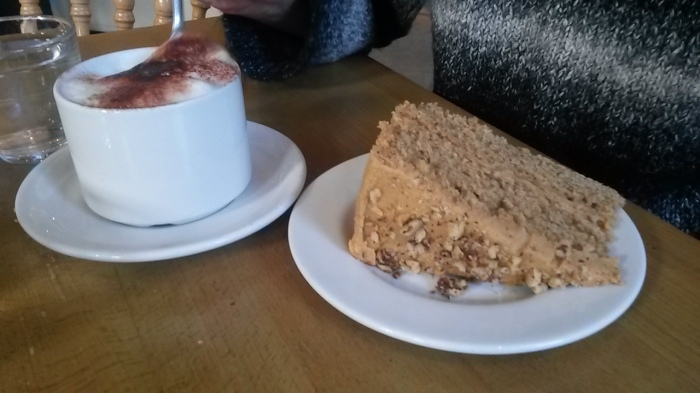 Double the fun - coffee with coffee and walnut cake