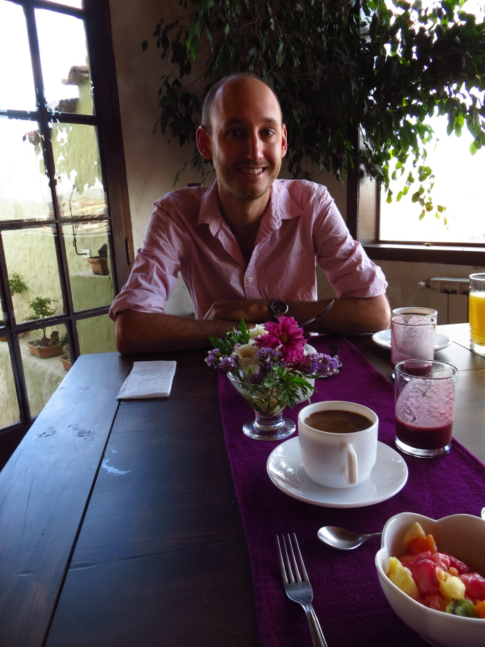 A breakfast cuppa at the amazing Hotel Boutique Mi Pueblo Samary in Sucre, Bolivia