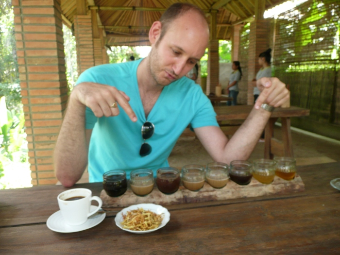 Tasting different coffees in Ubud, Bali