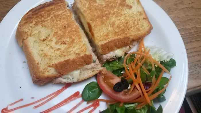 Tuna melt with bread made in store