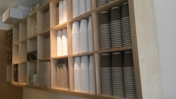 The stacked paper cups are a nice touch